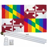 Maryland Rainbow Pride 3 'x 5' Polyester Flag, Pole and Mount