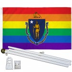 Massachusetts Rainbow Pride 3 'x 5' Polyester Flag, Pole and Mount