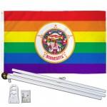 Minnesota Rainbow Pride 3 'x 5' Polyester Flag, Pole and Mount