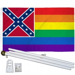 Mississippi Rainbow Pride 3 'x 5' Polyester Flag, Pole and Mount
