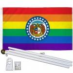 Missouri Rainbow Pride 3 'x 5' Polyester Flag, Pole and Mount