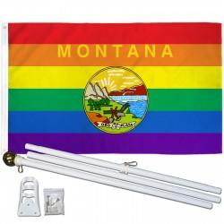 Montana Rainbow Pride 3 'x 5' Polyester Flag, Pole and Mount