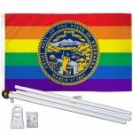 Nebraska Rainbow Pride 3 'x 5' Polyester Flag, Pole and Mount