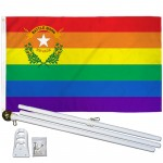 Nevada Rainbow Pride 3 'x 5' Polyester Flag, Pole and Mount