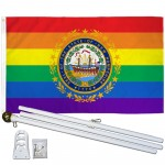 New Hampshire Rainbow Pride 3 'x 5' Polyester Flag, Pole and Mount