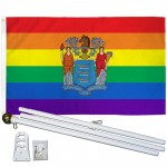 New Jersey Rainbow Pride 3 'x 5' Polyester Flag, Pole and Mount