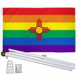 New Mexico Rainbow Pride 3 'x 5' Polyester Flag, Pole and Mount