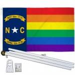North Carolina Rainbow Pride 3 'x 5' Polyester Flag, Pole and Mount