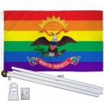 North Dakota Rainbow Pride 3 'x 5' Polyester Flag, Pole and Mount