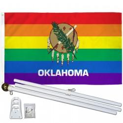 Oklahoma Rainbow Pride 3 'x 5' Polyester Flag, Pole and Mount