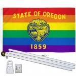 Oregon Rainbow Pride 3 'x 5' Polyester Flag, Pole and Mount
