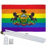 Pennsylvania Rainbow Pride 3 'x 5' Polyester Flag, Pole and Mount