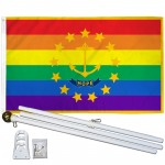 Rhode Island Rainbow Pride 3 'x 5' Polyester Flag, Pole and Mount