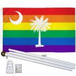 South Carolina Rainbow Pride 3 'x 5' Polyester Flag, Pole and Mount