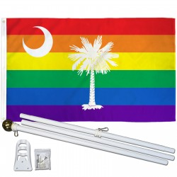 South Carolina Rainbow Pride 3 'x 5' Polyester Flag, Pole and Mount