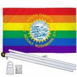 South Dakota Rainbow Pride 3 'x 5' Polyester Flag, Pole and Mount