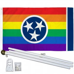 Tennessee Rainbow Pride 3 'x 5' Polyester Flag, Pole and Mount