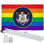 Utah Rainbow Pride 3 'x 5' Polyester Flag, Pole and Mount