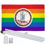 Virginia Rainbow Pride 3 'x 5' Polyester Flag, Pole and Mount