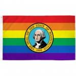 Washington Rainbow Pride 3 'x 5' Polyester Flag