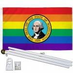 Washington Rainbow Pride 3 'x 5' Polyester Flag, Pole and Mount