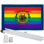 West Virginia Rainbow Pride 3 'x 5' Polyester Flag, Pole and Mount
