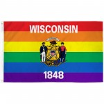 Wisconsin Rainbow Pride 3 'x 5' Polyester Flag