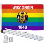 Wisconsin Rainbow Pride 3 'x 5' Polyester Flag, Pole and Mount