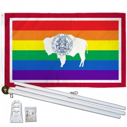 Wyoming Rainbow Pride 3 'x 5' Polyester Flag, Pole and Mount