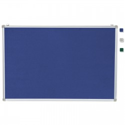 "24""x 36"" Aluminum Framed Blue Fabric Pin Board"