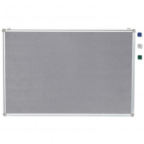 "24""x 36"" Aluminum Framed Gray Fabric Pin Board"