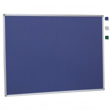 "36""x 48"" Aluminum Framed Blue Fabric Pin Board"