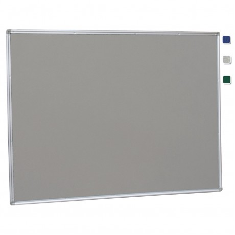 "36""x 48"" Aluminum Framed Gray Fabric Pin Board"