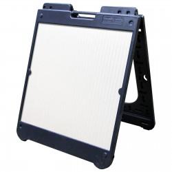 "26"" x 32"" Black Poly Plastic A-Frame - Correx White Panels"
