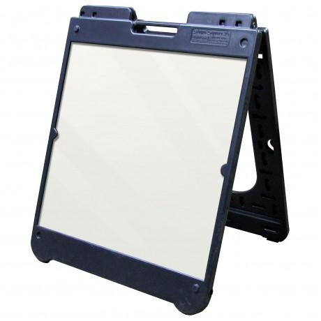 "26"" x 32"" Black Poly Plastic A-Frame - Acrylic White Panels"