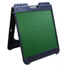 "26"" x 32"" Black Poly Plastic A-Frame - Chalkboard Green Panels"