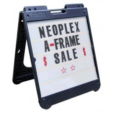 "26"" x 32"" Black Poly Plastic A-Frame - Letter Kit Black"