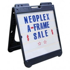 "26"" x 32"" Black Poly Plastic A-Frame - Letter Kit Blue"