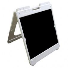 "26"" x 32"" White Poly Plastic A-Frame - Acrylic Black Panels"