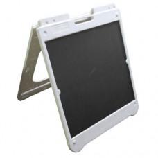 "26"" x 32"" White Poly Plastic A-Frame - Chalkboard Black Panels"