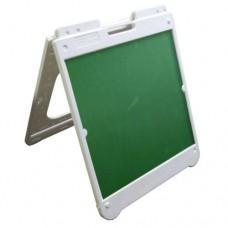 "26"" x 32"" White Poly Plastic A-Frame - Chalkboard Green Panels"