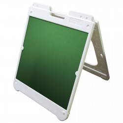 "26"" x 32"" White Poly Plastic A-Frame - Chalkboard Green Panels"