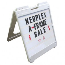 "26"" x 32"" White Poly Plastic A-Frame - Letter Kit Black"