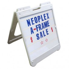 "26"" x 32"" White Poly Plastic A-Frame - Letter Kit Blue"