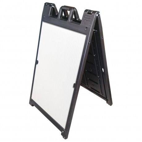 "25"" x 45"" Black Poly Plastic A-Frame - Correx White Panels"