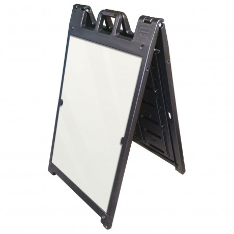 "25"" x 45"" Black Poly Plastic A-Frame - Acrylic White Panels"