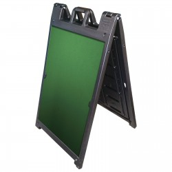 "25"" x 45"" Black Poly Plastic A-Frame - Chalkboard Green Panels"