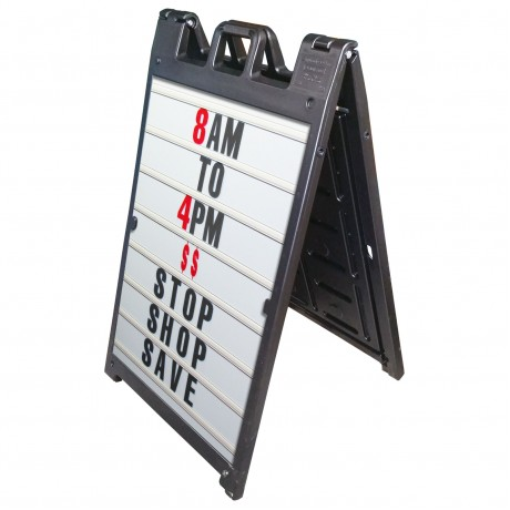 "25"" x 45"" Black Poly Plastic A-Frame - Letter Kit Black"