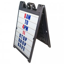 "25"" x 45"" Black Poly Plastic A-Frame - Letter Kit Blue"