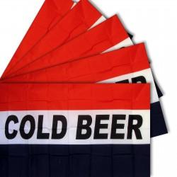 Cold Beer 3' x 5' Polyester Flag - 5 pack